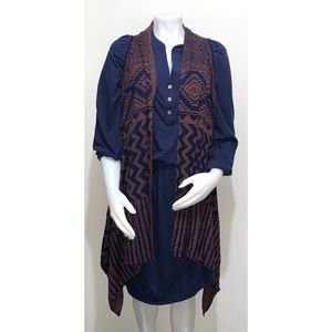 Como Vintage Scarf Vest Blue and Coco Size LG NWT